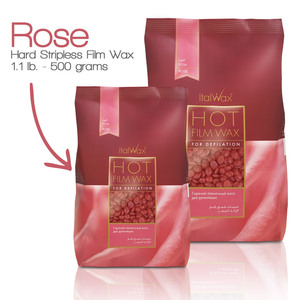 ItalWax Film Wax - Rose - Hard Stripless Wax Beads from Italy 1.1 lbs. - 500 Gram Bag (FILM-ROSE-HARD-1.1 LB.BAG X 1)