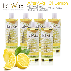 ItalWax After-Wax Treatment - After-Wax Oil Lemon from Italy 16.9 oz. - 500 mL. Each Case of 6 (AW-OIL-LEMON-500ML X 6)