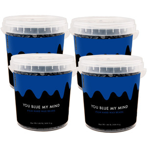 Miss Cire Blue Beads - You Blue My Mind - Polymer Based Stripless Film Hard Wax 1.85 lb. Bucket X 4 Buckets = 7.4 Lbs. Case (BLUE-MY-MIND-1.85LB X 4)