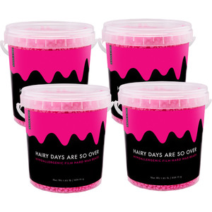 Miss Cire Hot Pink Beads - Hairy Days Are So Over - Hypoallergenic Stripless Film Hard Wax Beads  1.85 lb. Bucket X 4 Buckets = 7.4 Lbs. Case (HAIRY-DAYS-1.85LBS X 4)
