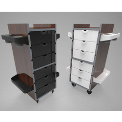 Publik Wood Trolley - Multiple Color Combinations 6 Drawers + 8 Appliance-Supply Holders ()