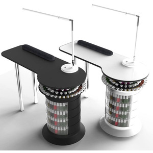 360 Manicure Table - Multiple Color Combinations Holds Over 375 Polishes ()
