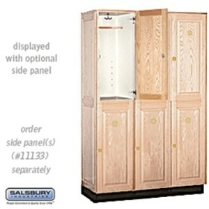 "Double Tier Solid Oak Executive Locker - 3 Lockers Wide X 6' High X 18"" Deep - Light Oak (12368LGT)"