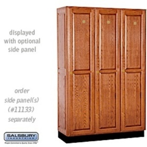 "Single Tier Solid Oak Executive Locker - 3 Lockers Wide X 6' High X 18"" Deep - Medium Oak (11368MED)"