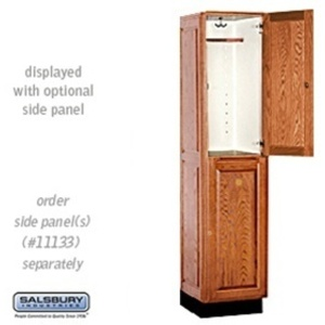 "Double Tier Solid Oak Executive Locker - 1 Locker Wide X 6' High X 18"" Deep - Medium Oak (12168MED)"