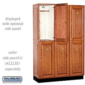 "Double Tier Solid Oak Executive Locker - 3 Lockers Wide X 6' High X 18"" Deep - Medium Oak (12368MED)"