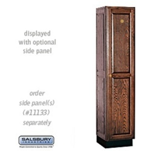 "Single Tier Solid Oak Executive Locker - 1 Locker Wide X 6' High X 18"" Deep - Dark Oak (11168DRK)"