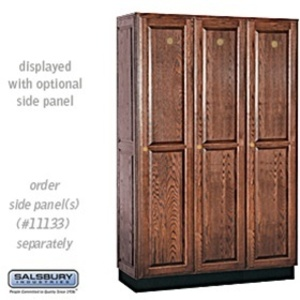 "Single Tier Solid Oak Executive Locker - 3 Lockers Wide X 6' High X 18"" Deep - Dark Oak (11368DRK)"