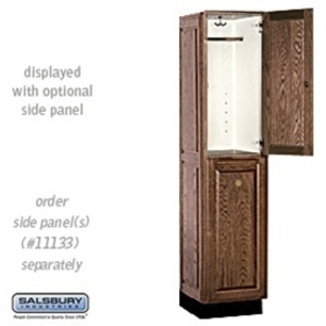 "Double Tier Solid Oak Executive Locker - 1 Locker Wide X 6' High X 18"" Deep - Dark Oak (12168DRK)"