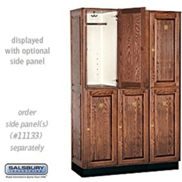 "Double Tier Solid Oak Executive Locker - 3 Lockers Wide X 6' High X 18"" Deep - Dark Oak (12368DRK)"