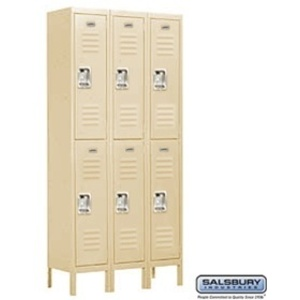 "Double Tier Standard Locker - 3 Lockers Wide - 6' High X 12"" Deep"