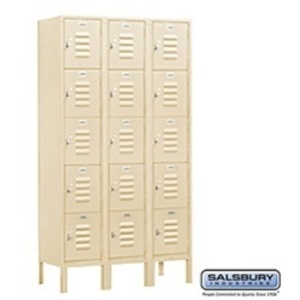 "Box Style Standard Locker - Five Tier - 3 Lockers Wide - 5' High X 12"" Deep"