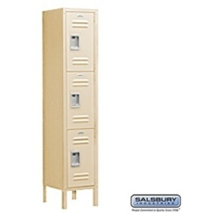 "Extra Wide Standard Locker - Triple Tier - 1 Locker Wide - 6' High - 15"" Deep"