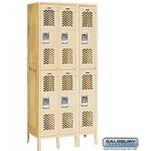 "Vented Locker - Double Tier - 3 Lockers Wide - 6' High - 12"" Deep"