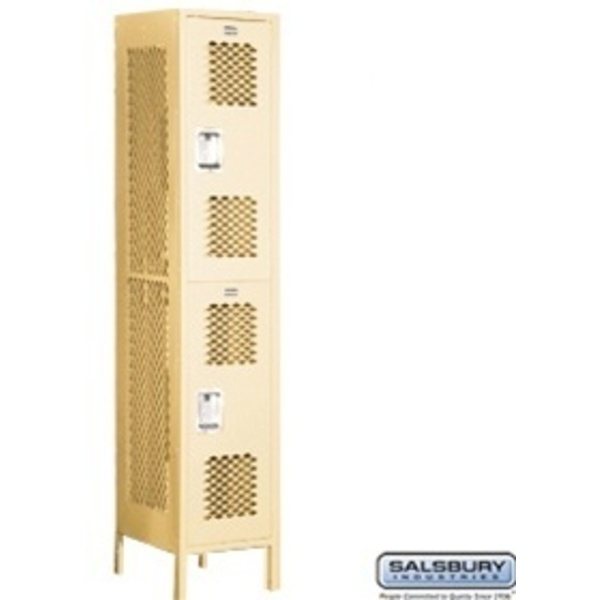 "Extra Wide Vented Locker - Double Tier - 1 Locker Wide - 6' High - 18"" Deep"