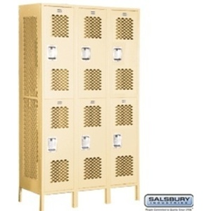 "Extra Wide Vented Locker - Double Tier - 3 Lockers Wide - 6' High - 18"" Deep"