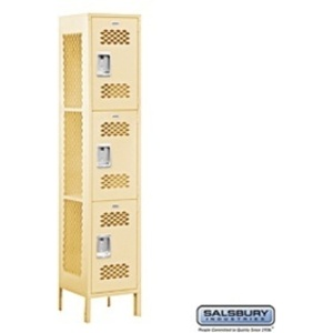 "Extra Wide Vented Locker - Triple Tier - 1 Locker Wide - 6' High - 15"" Deep"