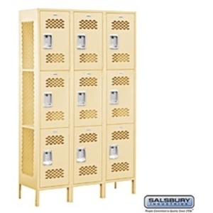 "Extra Wide Vented Locker - Triple Tier - 3 Lockers Wide - 6' High - 15"" Deep"