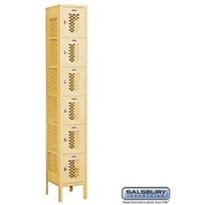 "Vented Box Locker - Six Tier - 1 Locker Wide - 6' High - 15"" Deep"
