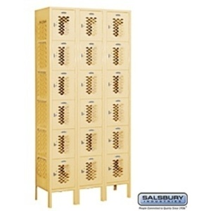 "Vented Box Locker - Six Tier - 3 Lockers Wide - 6' High - 12"" Deep"