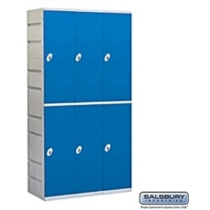 "Double Tier Plastic Locker - 3 Lockers Wide - 73"" High - 18"" Deep - Blue - Assembled"