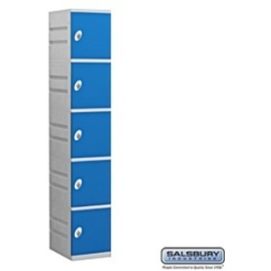 "Five Tier Plastic Locker - 1 Locker Wide - 73"" High - 18"" Deep"
