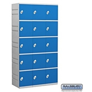 "Five Tier Plastic Locker - 3 Lockers Wide - 73"" High - 18"" Deep"