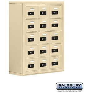 "Cell Phone Storage Locker - 15 ""A"" Doors - Door Size: 6.5""W x 5.25""H / Resettable Combination Locks"