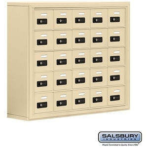 "Cell Phone Storage Locker - 25  ""A"" Doors - Door Size: 6.5""W x 5.25""H / Resettable Combination Locks"