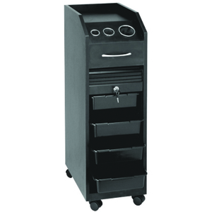 Lockable Rollabout Styling Station with Built-In Tool Holder - Black Laminate (D38BL)