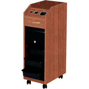 Lockable Rollabout Styling Station with Built-In Tool Holder - Wood Laminate (D38WD)