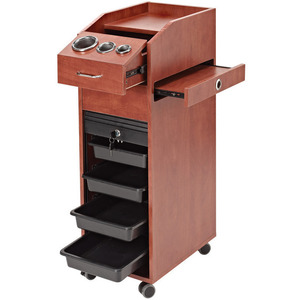 Lockable Rollabout Styling Station with Built-In Tool Holder - Wood Laminate (D39WD)