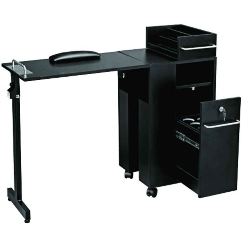 Folding Manicure Table Black Laminate Finish 2009bl