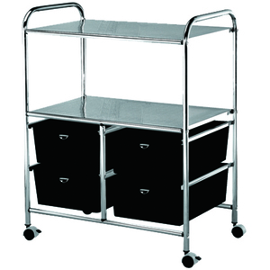 Professional Work Cart with 4 Black Storage Drawers (D4B)
