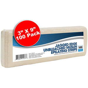 "Unbleached Natural Muslin Strips - Jagged Edge 3"" x 9"" 100 Pack (100147)"