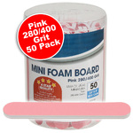 "Mini Foam Boards - Pink - 280400 Grit - 3.5"" x .5"" 50 Pack (100493)"
