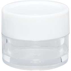 Clear Plastic Jar with White Lid - 0.27 oz. Each 36 Count (100857)
