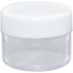 Clear Plastic Jar with White Lid - 0.60 oz. each 24 Count (100860)