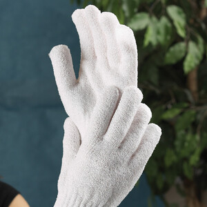 Premium Exfoliating Gloves White 6 Pair (102304)