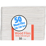 "White Wood File - 100180 Grit - 5"" Long 50 Count per Pack X 50 Packs = 2500 Files (104735)"