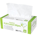"Premium PUR Cotton Wipes - 6"" x 7"" 100 Count in Dispenser (110519)"