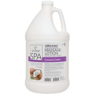 La Palm Products Organic Healing Therapy Massage Lotion - Moisture Restoring Treatment with Aloe Vera & Vitamin E - Coconut Cream - STEP 5 1 Gallon (140113)