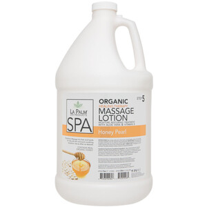 La Palm Products Organic Healing Therapy Massage Lotion - Moisture Restoring Treatment with Aloe Vera & Vitamin E - Honey Pearl - STEP 5 1 Gallon (140118)