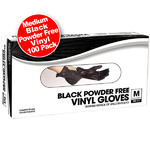 Black Powder Free Vinyl Gloves - Medium 100 Count (140410)