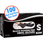 Black Powder Free Vinyl Gloves - Small 100 Count per Box X 10 Boxes = 1000 Gloves (140453)