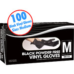 Black Powder Free Vinyl Gloves - Medium 100 Count per Box X 10 Boxes = 1000 Gloves (140454)