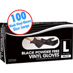 Black Powder Free Vinyl Gloves - Large 100 Count per Box X 10 Boxes = 1000 Gloves (140455)