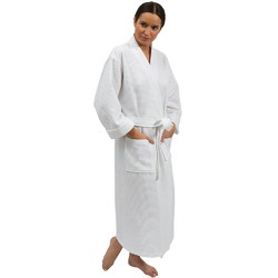 "Premium Waffle Weave Spa Robe - White 50""L - Fits Most Sizes (140594)"