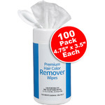 "Premium Hair Color Remover Wipes - Pre-Moistened - 4.75"" x 3.5"" Each 100 Count (140624)"
