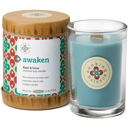 Awaken - Basil & Lime Scented Soy Candle Crackling Wooden Wick 6.5 oz. (308870)